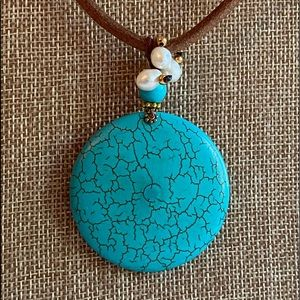 Faux Turquoise And Fresh Water Pearl Necklace